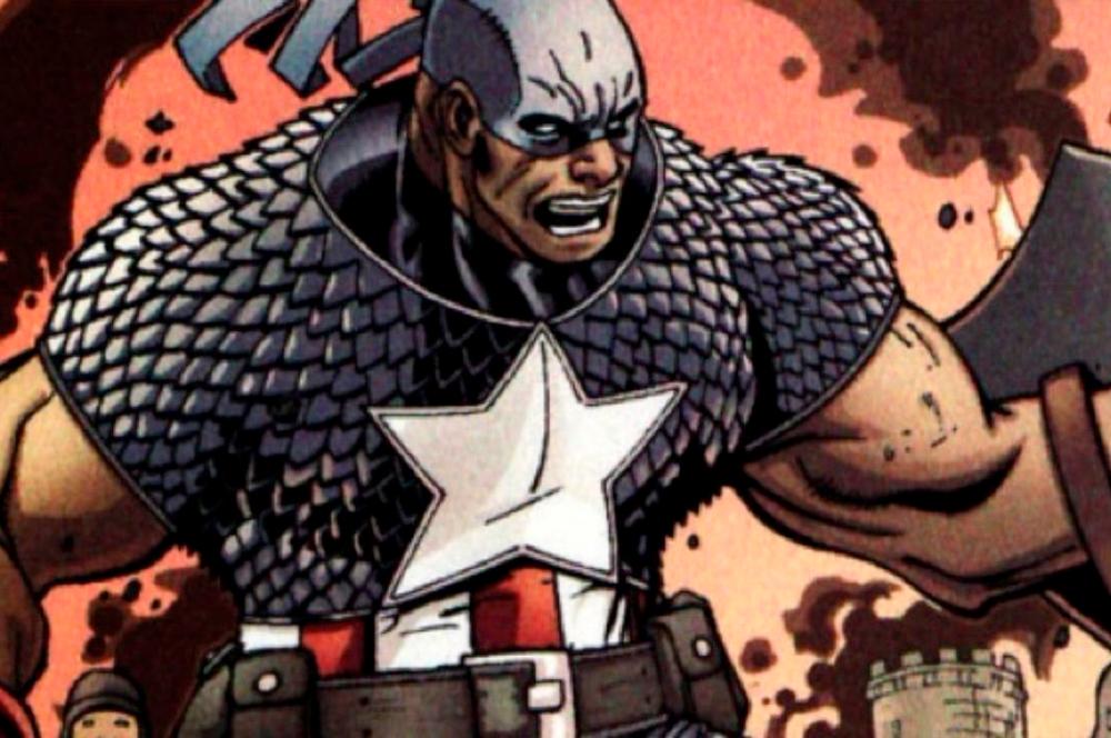Isaiah Bradley nas HQS com o uniforme do Capitão América