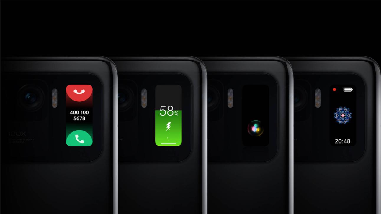 tela secundária do mi 11 ultra mostrando uma chamada, estado da bateria, uma imagem e hora