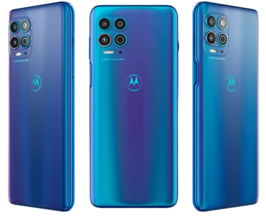 Imagem mostrando a traseiro do Moto G100 em cor azul