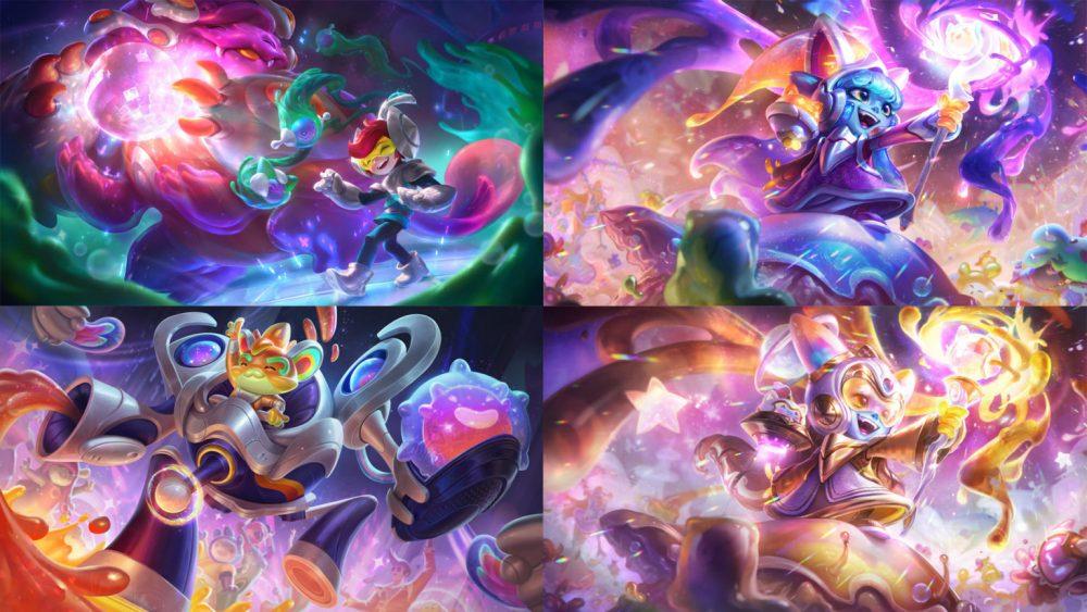 Splash Arts das skins embalo no espaço dos campeões Nunu, Rumble e Lulu