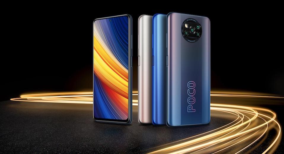 A imagem apresenta o POCO X3 Pro nas cores preto, azul e bronze. Também mostra o painel frontal do aparelho