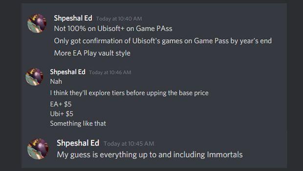 Shpeshal Ed, leaker do Xbox, comentando sobre a chegada dos jogos da Ubisoft no Game Pass
