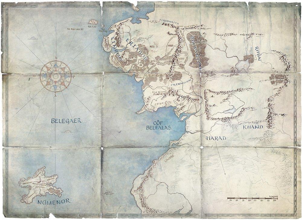 Mapa da Terra Média durante a Segunda Era