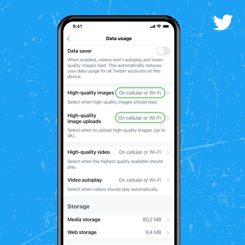 Twitter - Opções de dados móveis