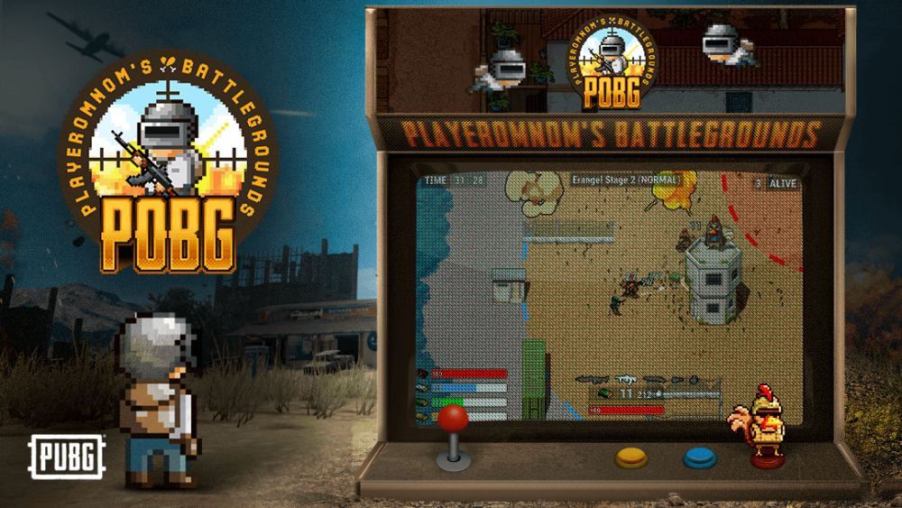 Imagem do fliperama com o jogo POBG.