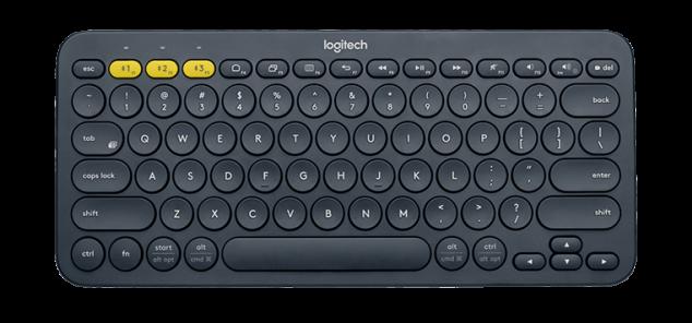 teclado logitech na cor cinza com teclas em destaque amarelo