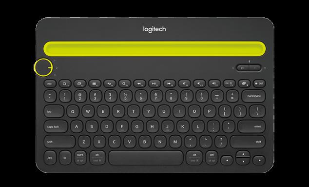 teclado logitech em cinza com uma barra amarela para apoiar seu tablet ou celular