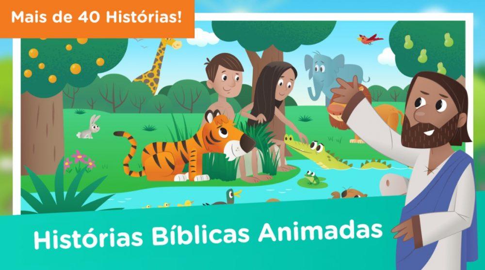 ilustração mostrando jesus e a história da criação ao fundo.