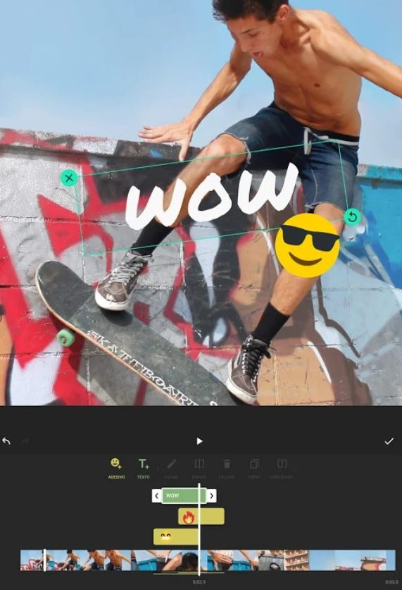 Imagem do aplicativo Inshot durante a edição de um vídeo