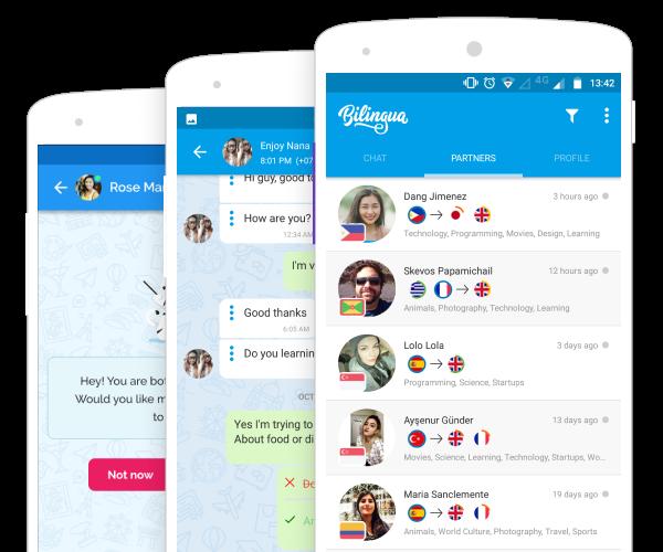O Bilingua permite encontrar falantes por interesse comum para facilitar a conversa