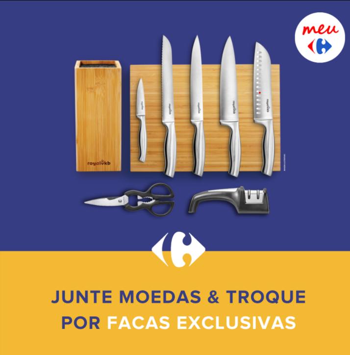imagem promocional mostrando um conjunto de facas que podem ser resgatadas pelo sistema recompensas