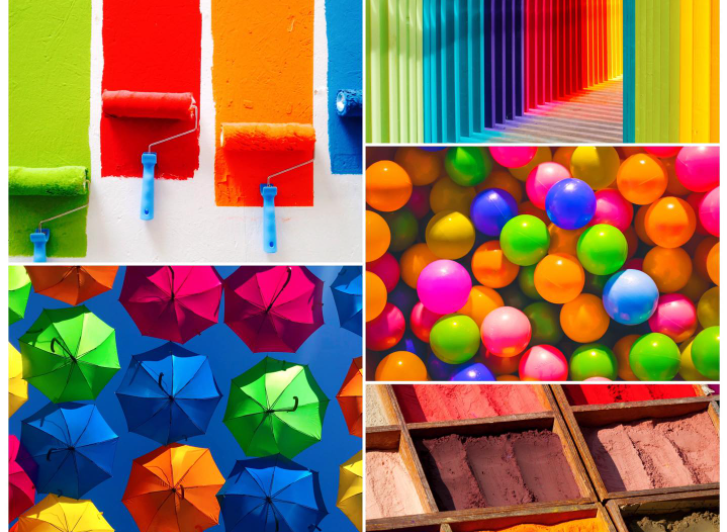 exemplo de montagem de fotos com imagens coloridas de tinta, guarda chuvas, sorvetes e bolas