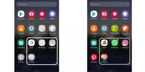 uma tela mostrando o celular no modo de segurança, com aplicativos em cinza e outra tela mostrando o celular no modo normal, com aplicativos coloridos