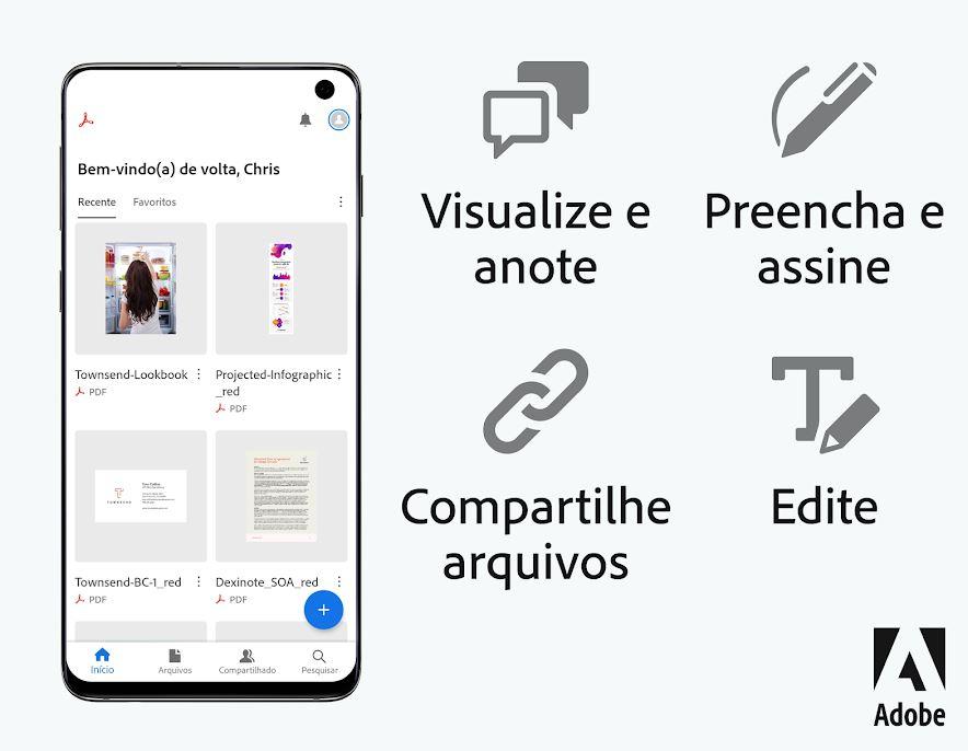 Algumas das funções do Adobe Acrobat Reader (Imagem: Reprodução/Adobe)