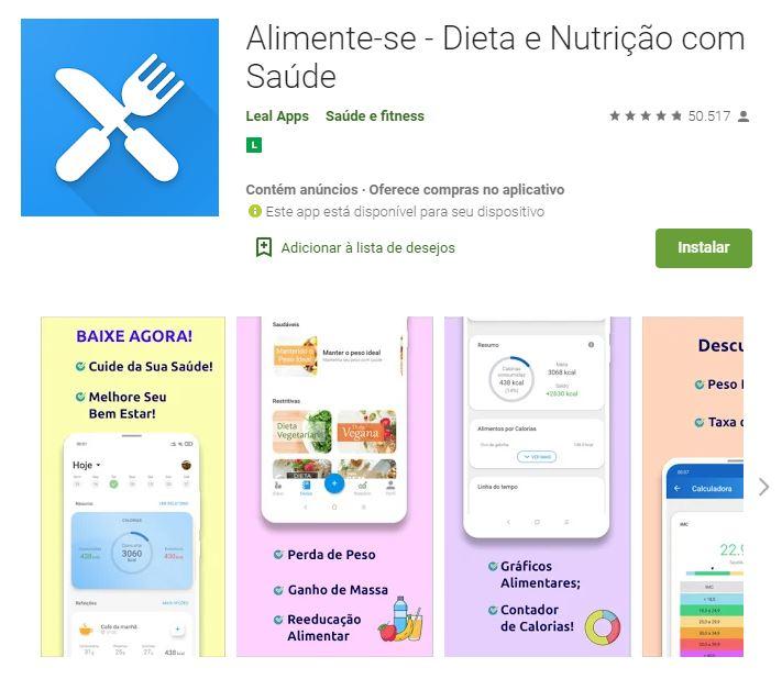 Página do app Alimente-se - Dieta e Nutrição com Saúde no Google Play (Imagem: Divulgação/Leal Apps)