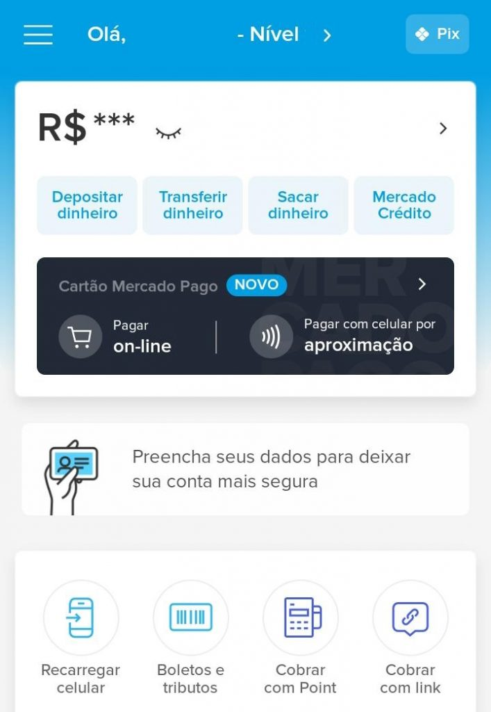 Tela inicial do aplicativo do Mercado Pago (Captura: Alexandre Garcia Peres/Tech News Brasil)