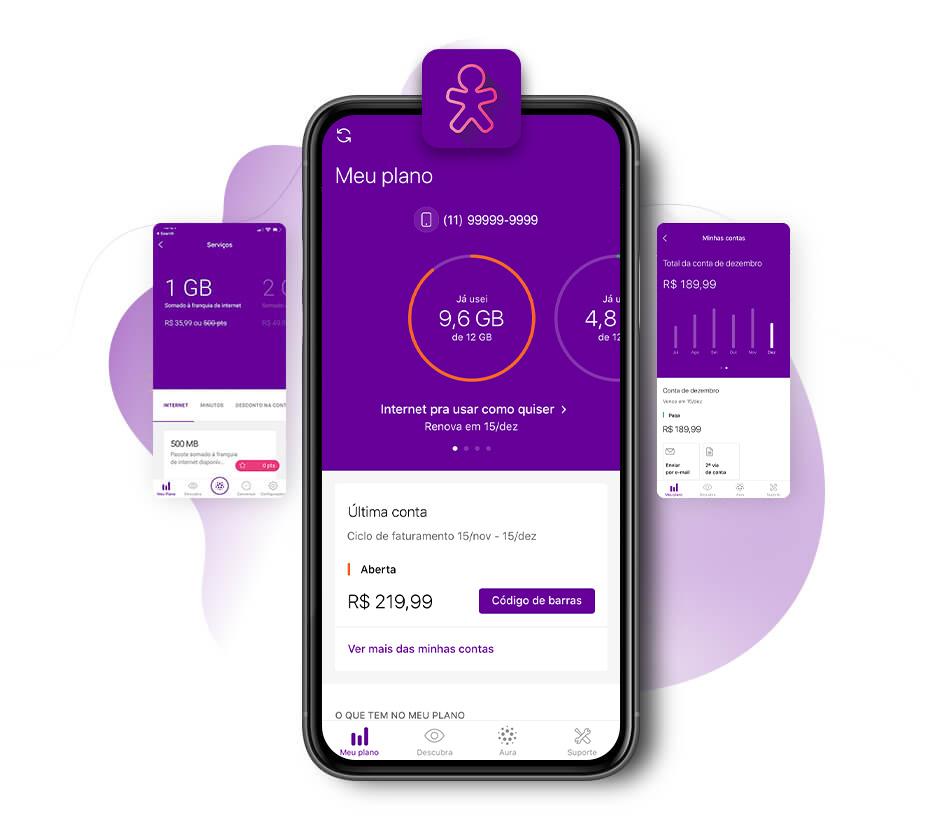 Interface e design do aplicativo Meu Vivo (Imagem: Divulgação/Vivo)
