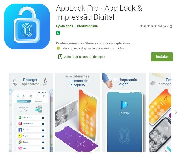 Página do AppLock Pro na Google Play (Imagem: Divulgação/Eywin Apps)