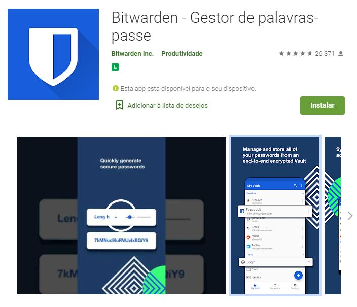 Página do Bitwarden Gestor de Palavras-Passe no Google Play (Imagem: Divulgação/Bitwarden Inc.)