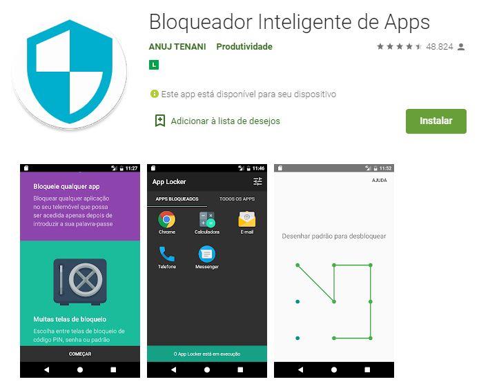 Página do Bloqueador Inteligente de Apps na Google Play (Imagem: Divulgação/ANUJ TENANI)