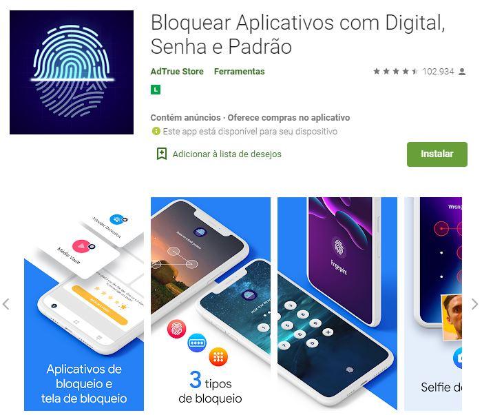 Imagem do aplicativo Bloquear Aplicativos com Digital, Senha e Padrão na Google Play (Imagem: Divulgação/AdTrue Store)