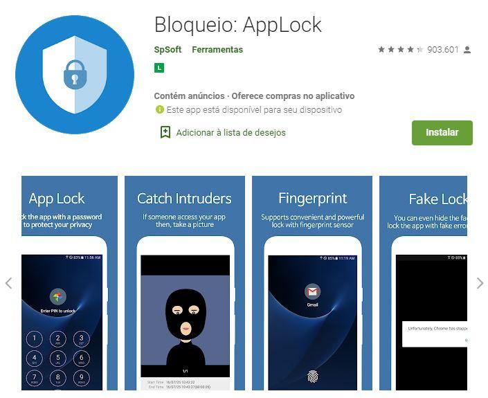 Página do Bloqueio: Applock na Google Play (Imagem: Divulgação/SpSoft)
