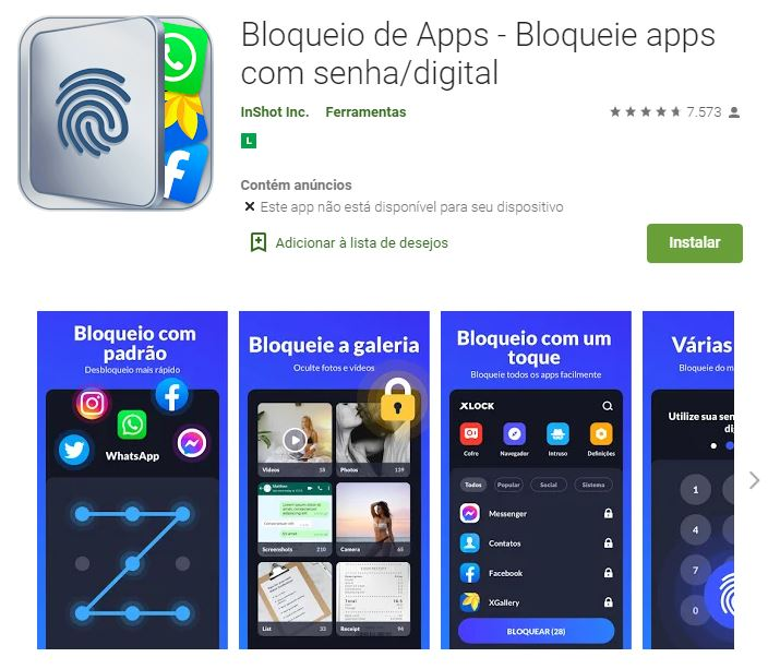 Página do Bloqueio de Apps na Google Play (Imagem: Divulgação/InShot Inc.)