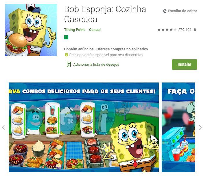 Página do Bob Esponja: Cozinha Cascuda no Google Play (Imagem: Divulgação/Tilting Point)