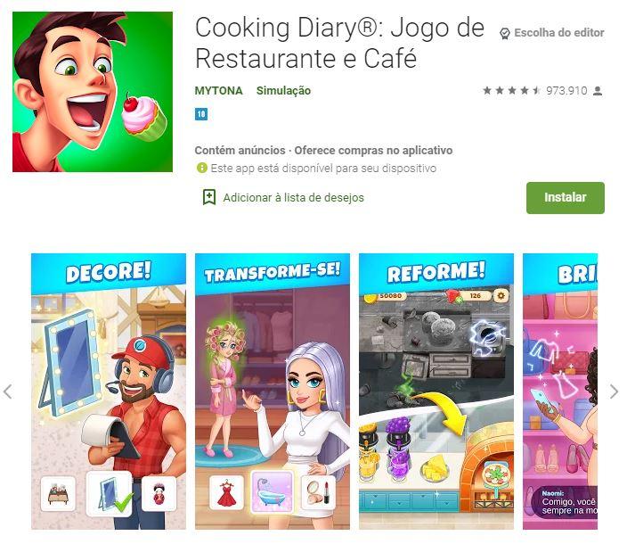 Página do Cooking Diary no Google Play (Imagem: Divulgação/MYTONA)