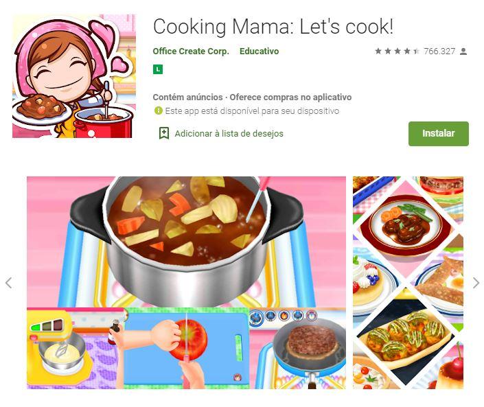 Página do Cooking Mama: Lets Cook! no Google Play (Imagem: Divulgação/Office Create Corp.)