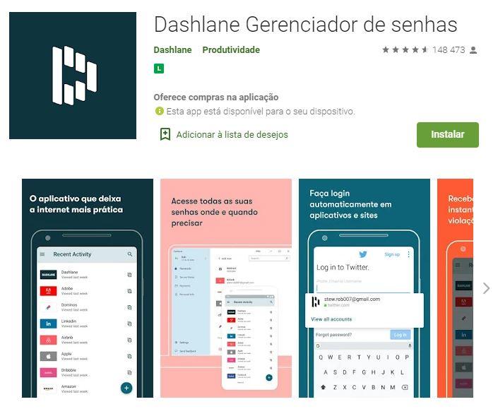 Página do Dashlane Gerenciador de Senhas no Google Play (Imagem: Divulgação/Dashlane)