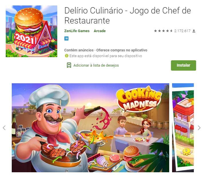 Página do Delírio Culinário no Google Play (Imagem: Divulgação/ZenLife Games)