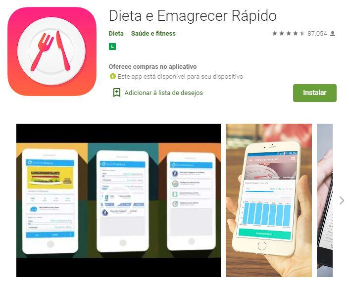 Página do app Dieta e Emagrecer Rápido no Google Play (Imagem: Divulgação/Dieta)