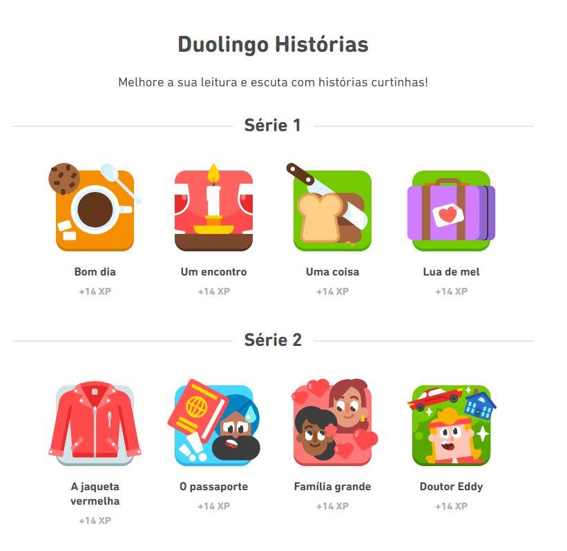 Algumas das histórias disponíveis no recurso Duolingo Histórias (Imagem: Reprodução/Duolingo)