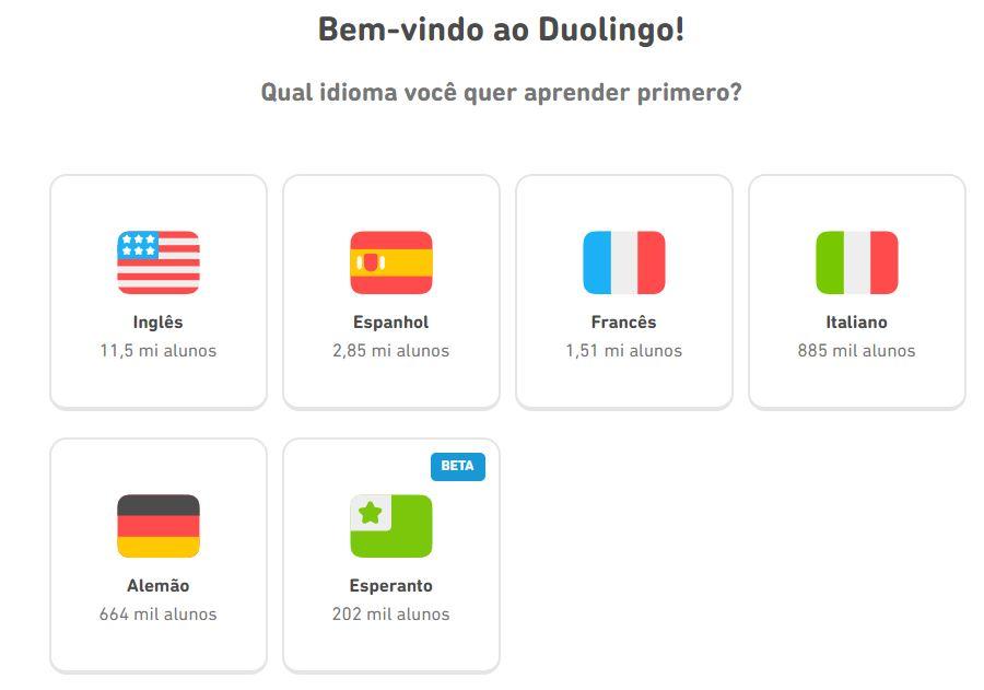 Os cursos de idiomas disponíveis no Duolingo para falantes de português (Imagem: Reprodução/Duolingo)