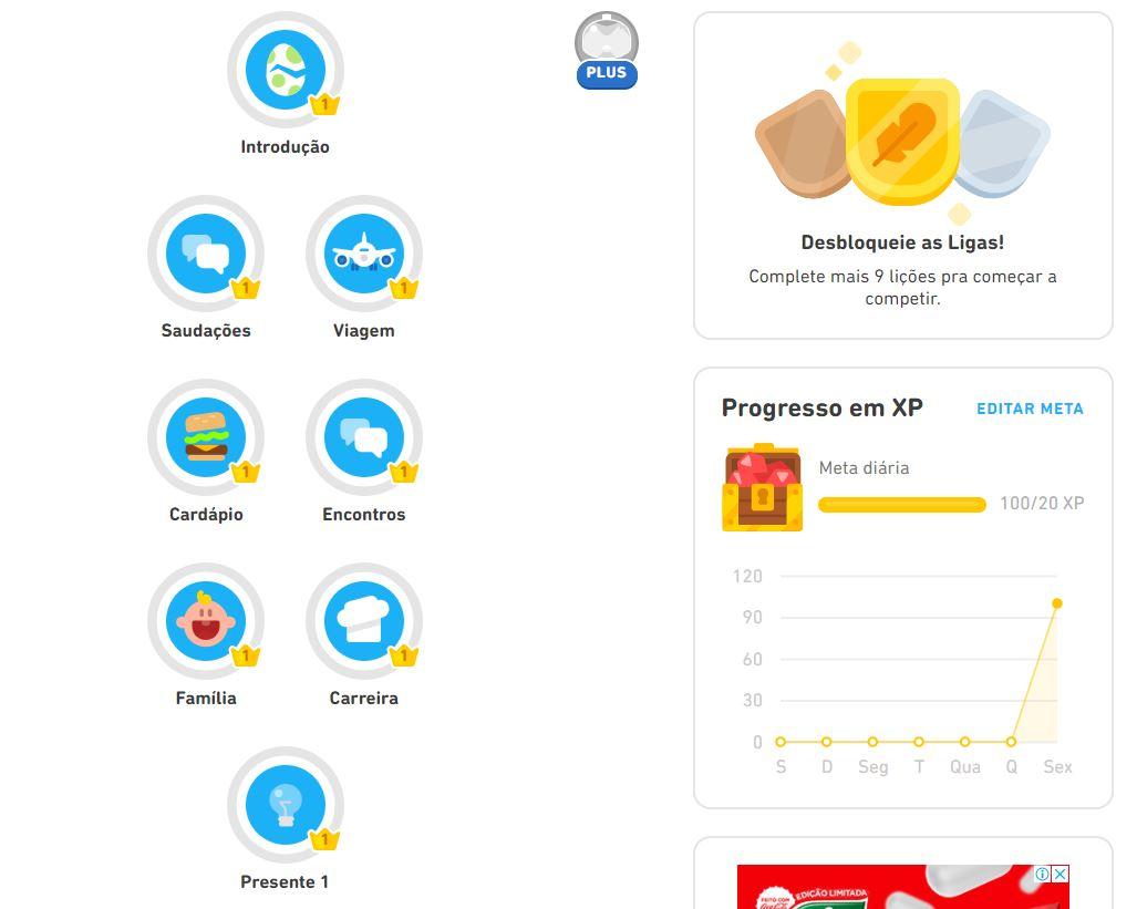 Alguns dos módulos disponíveis no curso de inglês do Duolingo (Imagem: Reprodução/Duolingo)