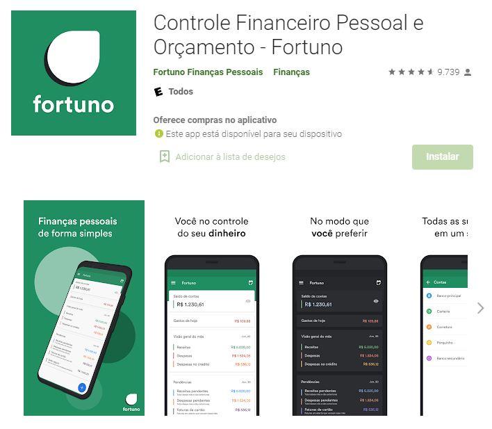 Página do Fortuno na Google Play (Imagem: Divulgação/Fortuno Finanças Pessoais)