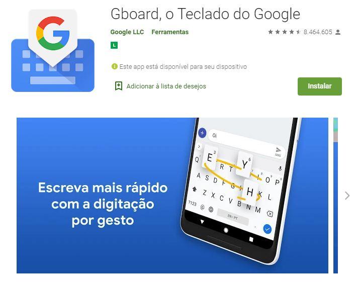Página do Gboard no Google Play (Imagem: Divulgação/Google)