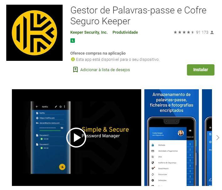 Página do app Gestor de Palavras-Passe e Cofre Seguro Keeper no Google Play (Imagem: Divulgação/Keeper Security Inc.)