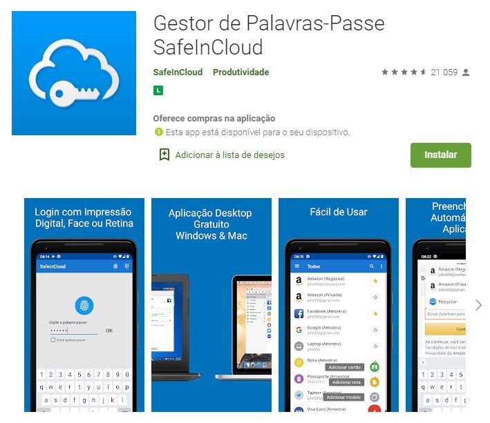 Página do Gestor de Palavras-Passe SafeInCloud no Google Play (Imagem: Divulgação/SafeInCloud)