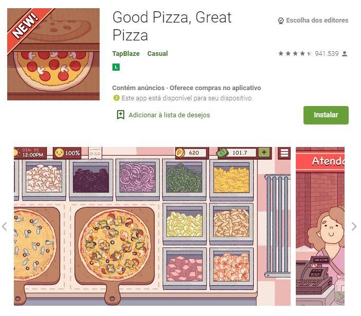 Página do jogo Good Pizza, Great Pizza no Google Play (Imagem: Divulgação/TapBlaze)