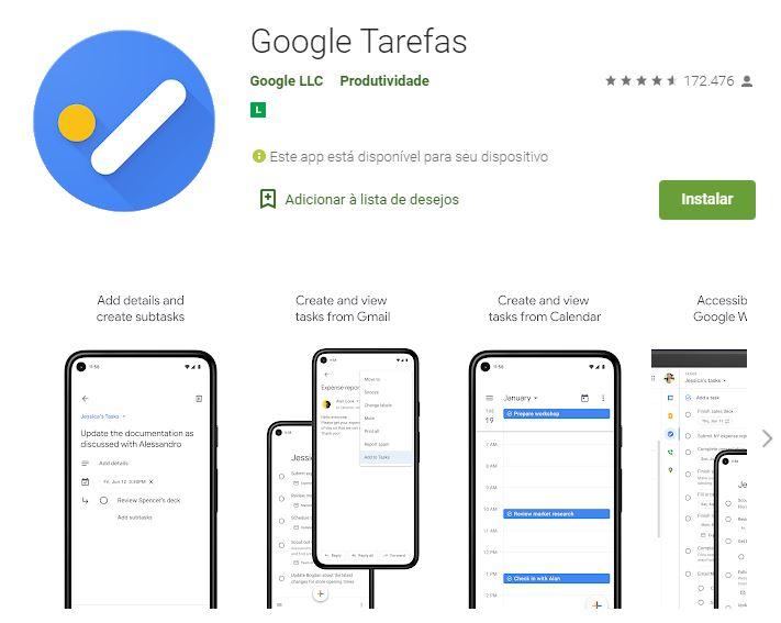 Página do Google Tarefas na Google Play (Imagem: Reprodução/Google)