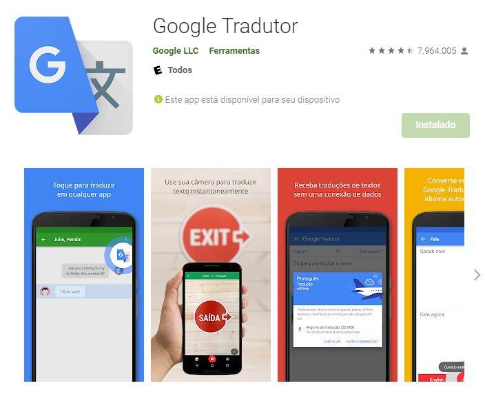 Página do Google Tradutor na Google Play (Imagem: Reprodução/Google)