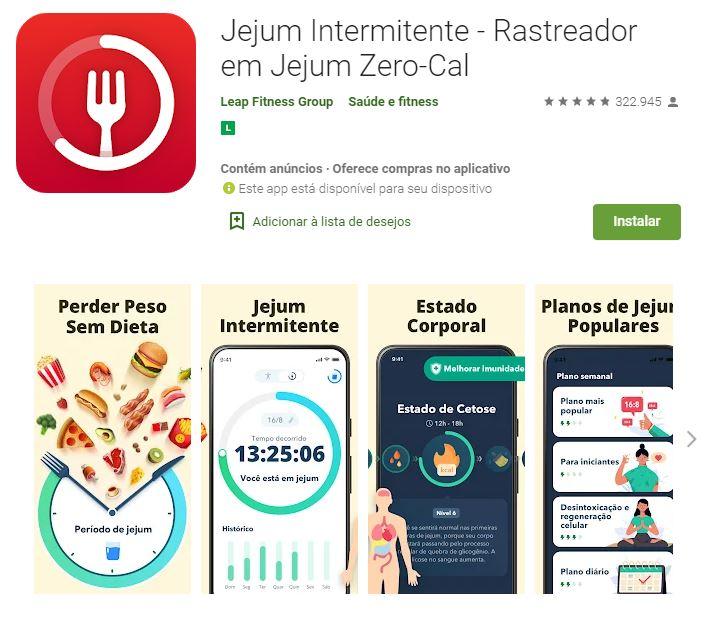 Págian do app Jejum Intermitente no Google Play (Imagem: Divulgação/Leap Fitness Group)