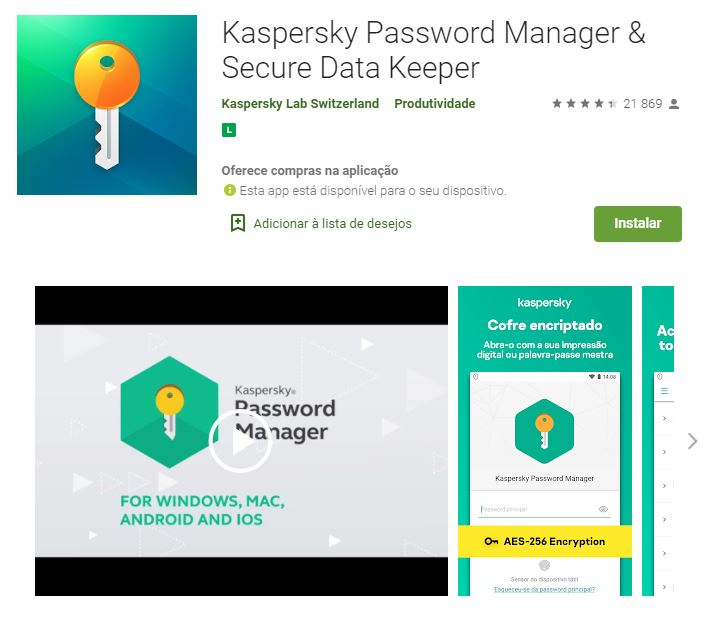 Página do Kaspersky Password Manager & Secure Data Keeper (Imagem: Divulgação/Kaspersky Lab Switzerland)