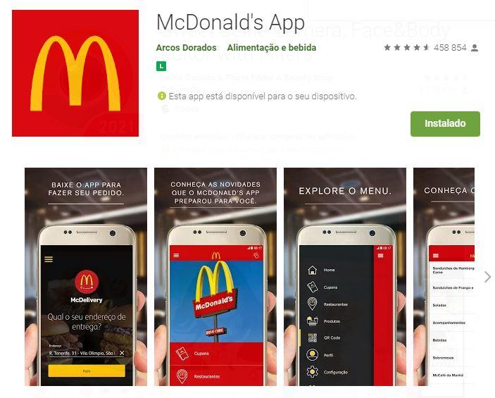 Página do McDonald's App no Google Play (Imagem: DIvulgação/McDonald's   Arcos Dourados)