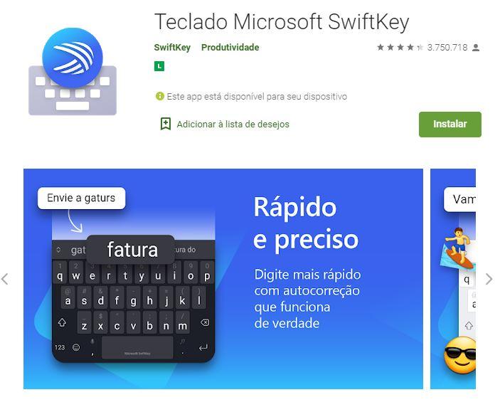 Página do Microsoft SwiftKey no Google Play (Imagem: Divulgação/Microsoft)