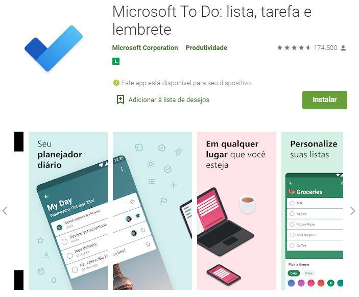 Página do Microsoft To Do na Google Play (Imagem: Reprodução/Microsoft)