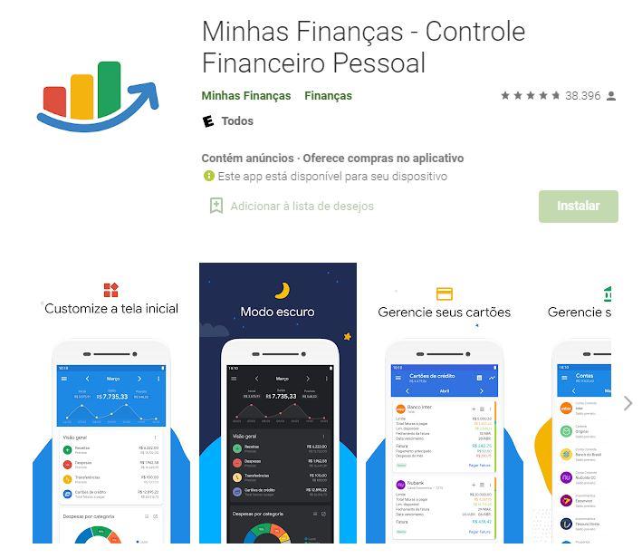 Página do Minhas Finanças na Google Play (Imagem: Divulgação/Minhas Finanças)