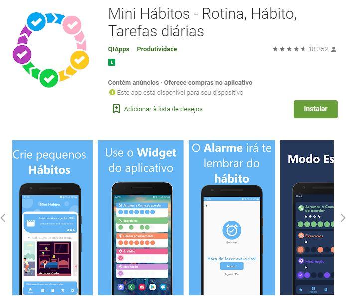 Página do Mini Hábitos na Google Play (Imagem: Reprodução/QIApps)